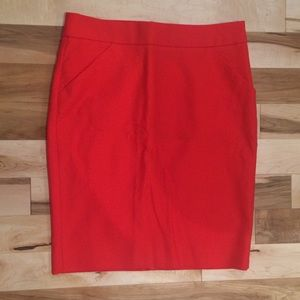 J. Crew Red Pencil Skirt